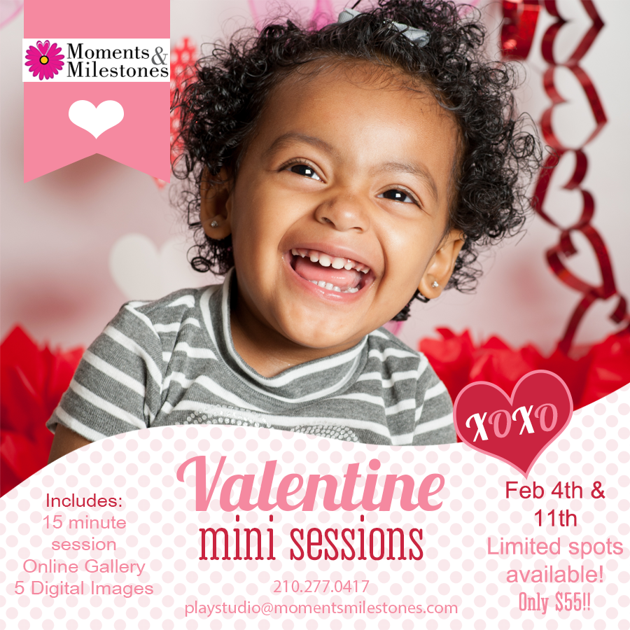 Valentine's Day Mini-Sessions Moments & Milestones Studio Photography Monthly Mini's Themed Children's Sessions