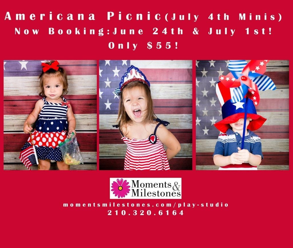 Americana Picnic Monthly Mini Sessions 4th of July themed at the Moments & Milestones Studio! 2